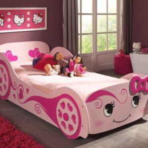 Lit enfant voiture LOVE CAR 90x200 cm rose