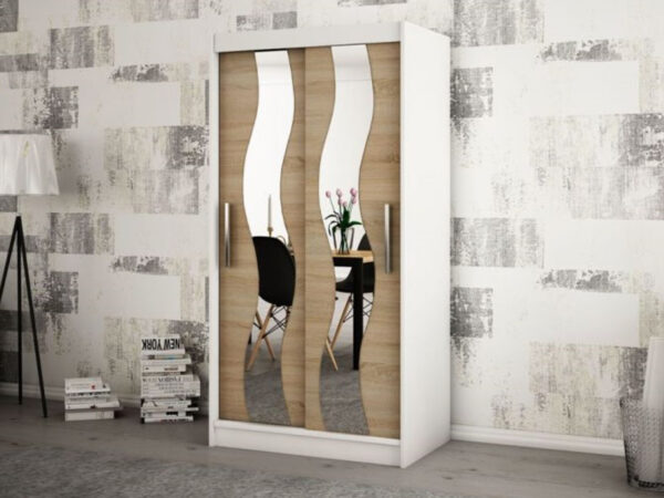 Armoire SEWITE 2 portes coulissantes 100 cm blanc/sonoma