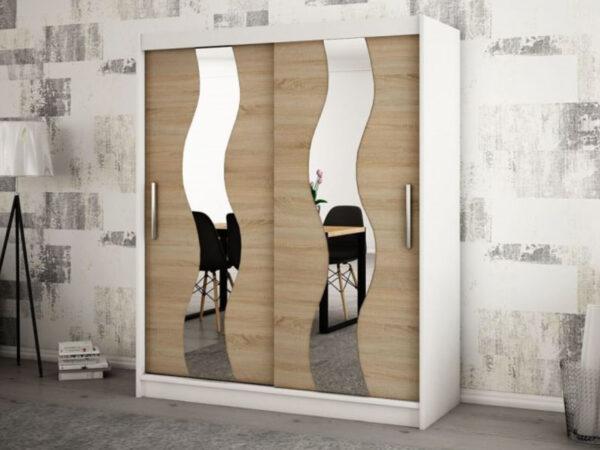 Armoire SEWITE 2 portes coulissantes 180 cm blanc/sonoma