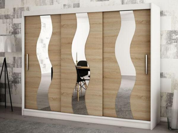 Armoire SEWITE 3 portes coulissantes 250 cm blanc/sonoma