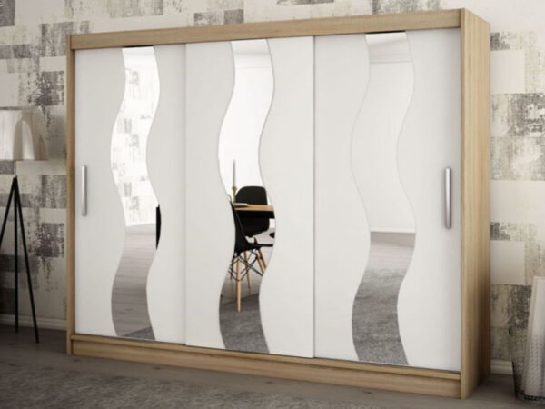 Armoire SEWITE 3 portes coulissantes 250 cm sonoma/blanc