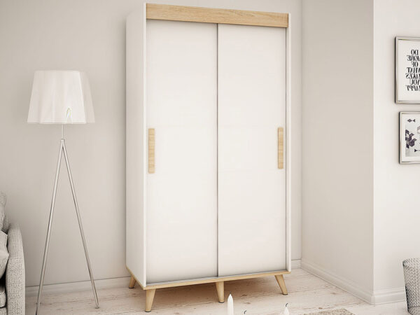 Armoire SKANTOISE 2 portes coulissantes 100 cm blanc/sonoma sans miroir