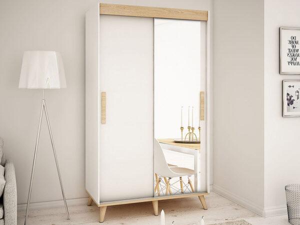 Armoire SKANTOISE 2 portes coulissantes 150 cm blanc/sonoma avec miroir