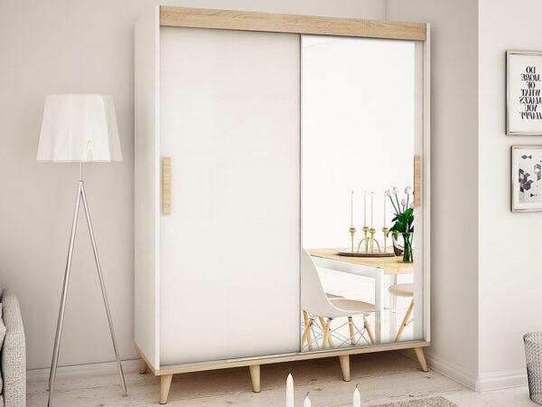 Armoire SKANTOISE 2 portes coulissantes 180 cm blanc/sonoma avec miroir