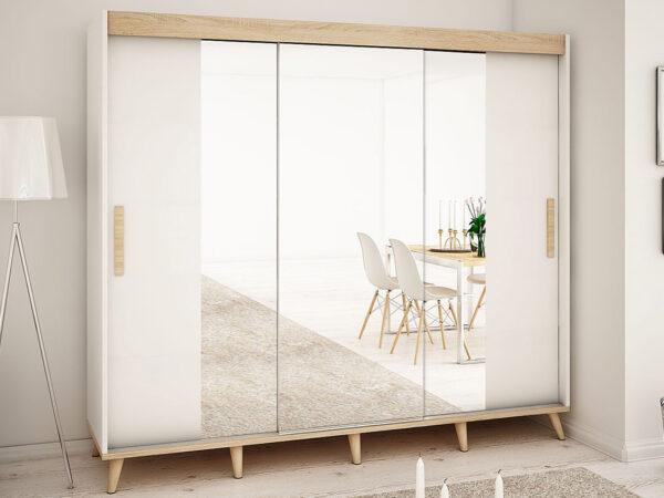 Armoire SKANTOISE 3 portes coulissantes 250 cm blanc/sonoma avec miroir