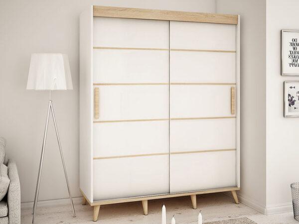 Armoire SKANDYSHOP 2 portes coulissantes 180 cm blanc/sonoma sans miroir