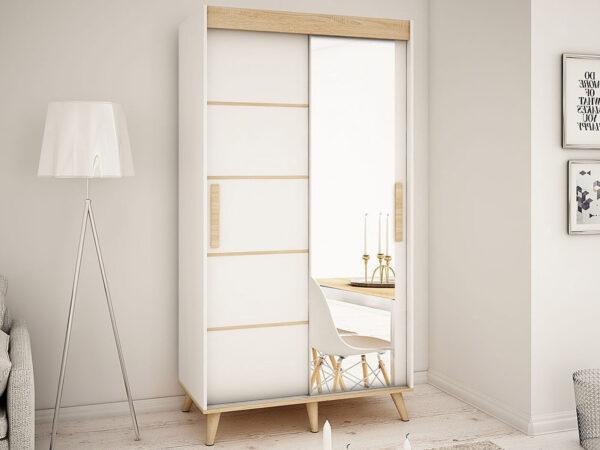 Armoire SKANDYSHOP 2 portes coulissantes 100 cm blanc/sonoma avec miroir