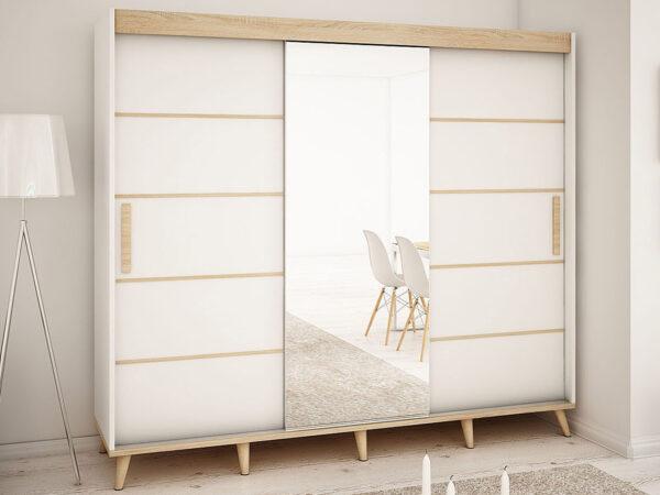 Armoire SKANDYSHOP 3 portes coulissantes 250 cm blanc/sonoma avec miroir