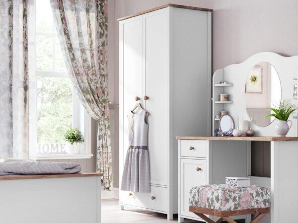 Armoire SHELLY 2 portes 1 tiroir blanc/chêne nash