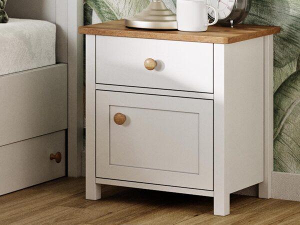 Chevet SHELLY 1 porte 1 tiroir blanc/chêne nash
