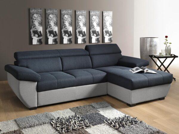 Canapé convertible SPIRIT avec méridienne droite tissu noir/gris