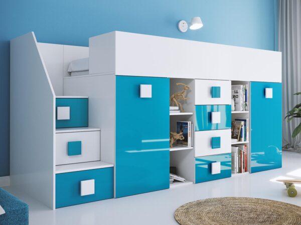 Lit combiné TOGO 90x200 cm blanc/bleu brillant avec escalier à gauche