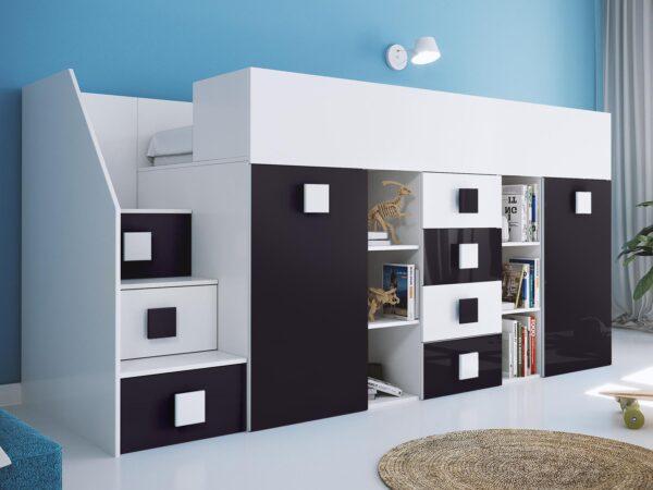 Lit combiné TOGO 90x200 cm blanc/noir brillant avec escalier à gauche
