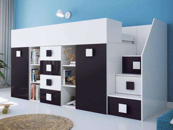 Lit combiné TOGO 90x200 cm blanc/noir brillant avec escalier à droite