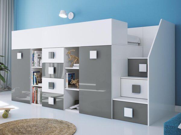 Lit combiné TOGO 90x200 cm blanc/gris brillant avec escalier à droite