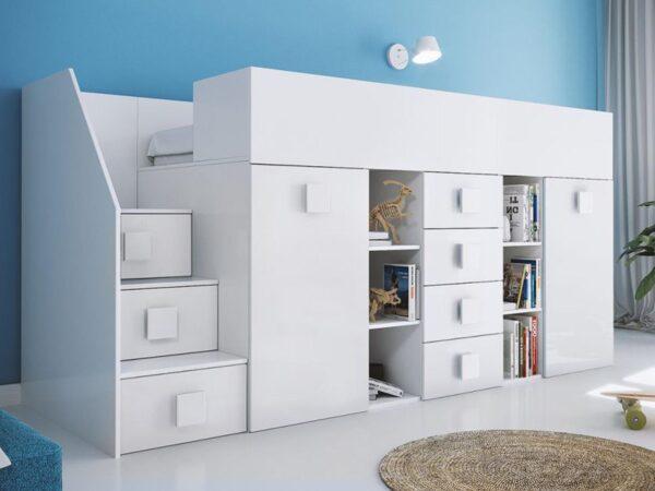 Lit combiné TOGO 90x200 cm blanc/blanc brillant avec escalier à gauche
