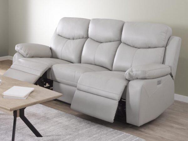 Fauteuil relax électrique VICTOIR 3 places demi-cuir gris clair