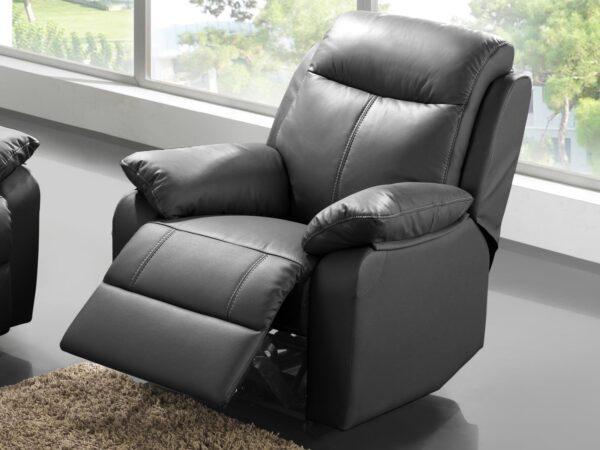 Fauteuil relax électrique VICKY 1 place cuir noir