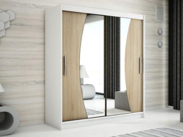 Armoire WAVRE 2 portes coulissantes 180 cm blanc/sonoma