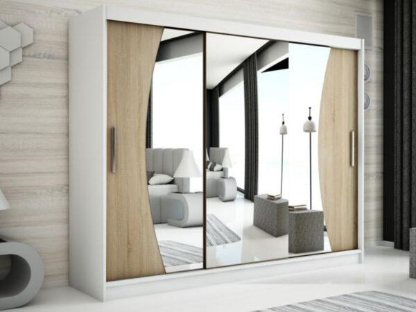 Armoire WAVRE 3 portes coulissantes 250 cm blanc/sonoma