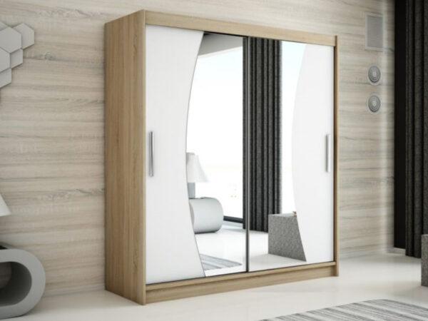 Armoire WAVRE 2 portes coulissantes 150 cm sonoma/blanc