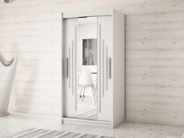 Armoire YORKSHIRE 2 portes coulissantes 120 cm blanc