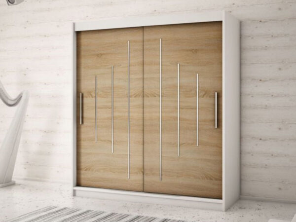 Armoire YORKNEW 2 portes coulissantes 150 cm blanc/sonoma
