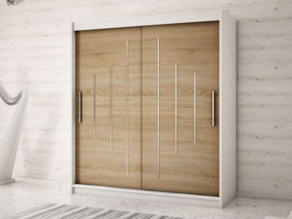 Armoire YORKNEW 2 portes coulissantes 180 cm blanc/sonoma