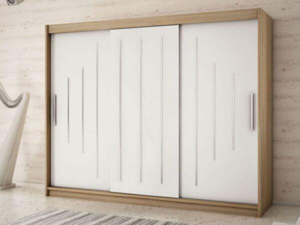 Armoire YORKNEW 3 portes coulissantes 250 cm sonoma/blanc